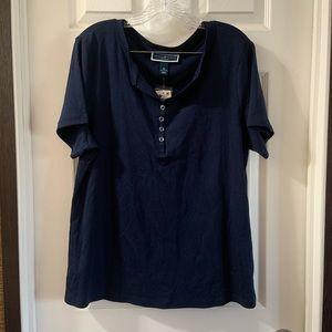 Karen Scott NWT Navy Blue Short Sleeve Top 0X